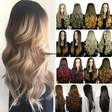 UK Soft Hair Clip in Hairpiece Long 3/4 Full Head Wig Ombre Half Wig Multicolor