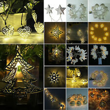 10LED Golden Metal Blubs Lamp AA Battery Operated Fairy String Lights Xmas Decor