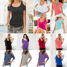 Sexy Womens Ladies Casual Loose Cold Shoulder Blouse Shirt Tops T-shirts Beach