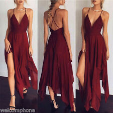 New Sexy Womens long evening party deep V-neck soild long dress casual dress
