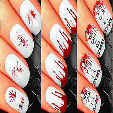 NAIL ART STICKERS WATER TRANSFER DECALS WRAPS ZOMBIE BLOOD JACK SKELLINGTON
