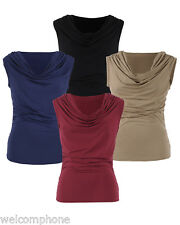 Lady Womens Ruched Cowl Neck Sleeveless Casual Stretchy Top Blouse tops