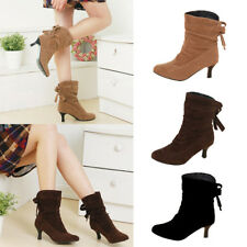 Women's Ladies Faux Suede Pleated Winter Boots Kitten Heels Bow Ankle Shoes Size