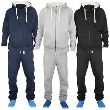 Mens Plain Fleece Full Tracksuit Jogging Hooded Jacket Top & Jogger Bottoms