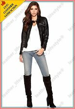 Women's Genuine Lambskin Leather Jacket Black Slimfit Biker Motorcycle Jacket 09