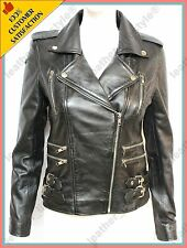 Women's Genuine Lambskin Leather Jacket Black Slimfit Biker Motorcycle Jacket 42