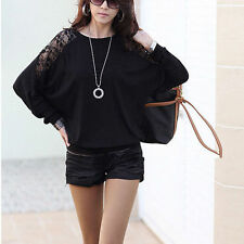 Womens Fashion Ladies Batwing Lace Long Sleeve Ladie Loose T Shirt Blouse Top