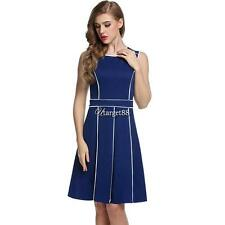 Meaneor Women Sleeveless Contrast Color Pleated Fit and Flare Party UTAR