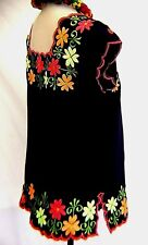 Mexico Navy Blue Blouse Frida Floral Embroidery Ethnic Peasant 100% Linen L/XL