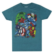 Marvel Characters Comic Group Blue T-shirt