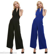 Sexy Wide Leg Jumpsuit Romper Women Sleeveless Backless V-neck Casual Work Pants