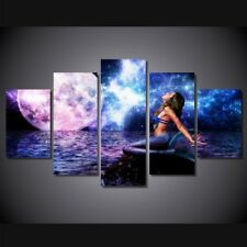 5 Pcs The Rusalka Blue Mermaid Canvas Print Painting Wall Art Home Decor