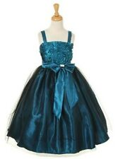 New Teal Flower Girls Dress Easter Christmas Party Pageant Fancy Holiday 6006KK