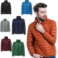 Mens Down Jacket Stand collar Puffer Coat Ultralight Outdoor Packable