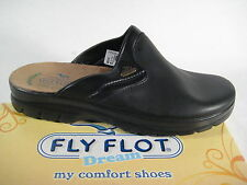 Fly Flot Clogs Mules Slippers Black 881813 Real Leather Leather Footbed