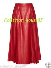 New Women Skirt Genuine Lamb Skin Red Leather Hollywood Designer Party Casual 68