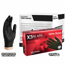 AMMEX BX3 Black Nitrile Industrial Latex Free Disposable Gloves, Case, 1,000