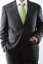 MENS 2 BUTTON GRAY PINSTRIPE DRESS SUIT FLAT FRONT, SML-63012N-63006-GRE