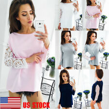 US Women Long Sleeve Tops Casual Blouse Lace Stitching Shirt Loose Tee T-Shirts