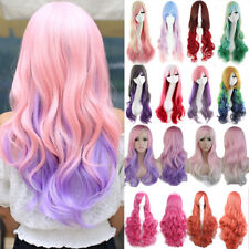 Fashion Women Girls Long Curly Hair Cosplay Wig Full Wig Real Synthetic wigs m92