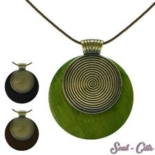 Necklace Helix Wood Leather Green Black Brown Natural Natural Chain Brass