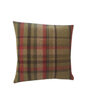Skye Tartan Check faux wool Red Beige Charcoal cushion cover hand made in UK