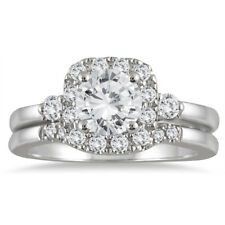AGS Certified 1 3/5 CTW Diamond Halo Engagement Bridal Set in 14K White Gold