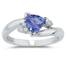 3/4 Ct. Trillion Cut Tanzanite & Diamond Ring | Tanzanite Ring | 14K White Gold