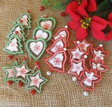 Set 9 Wooden Red White Green Christmas Tree Decorations Star Tree Heart Angel