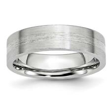 Chisel Cobalt Sterling Silver Inlay Satin 6mm Flat Band Ring CC45