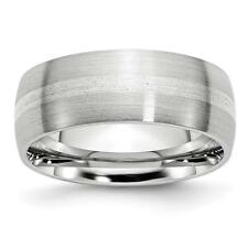 Chisel Cobalt Sterling Silver Inlay Satin 8mm Band Ring CC47