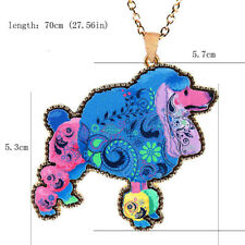Long Acrylic Pendant Necklace 1 Pcs Poodle Colorful Sweater Chain Women Cute