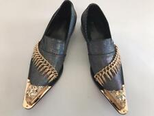 Men's Fiesso Silver Multi color Entertainer Pointed Gold Metal Tip Shoes FI 7092