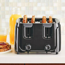 4 Slice Toaster Black Kitchen Toaster Wide Slot Bread Bagel Toast Crumb Tray New