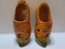 OLD PAIR OF HOLLAND WOODEN SHOES HAND PAINTED WINDMILL CANAL NO. 1 (R3=FS)