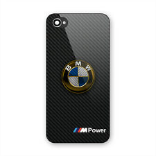 BMW Gold Logo Luxury Car Carbon Print Hard Plastic Cover iPhone 5 5s 6 6s 7 Plus