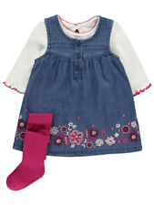 Baby Girl Embroidered Denim Dress Top & Tights Outfit Set