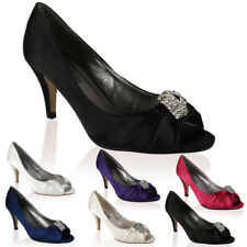 NEW WOMENS SATIN DIAMANTE PEEP TOE LADIES HIGH HEELED PROM COURT SHOES SIZE 3-8