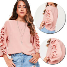 Frill 3/4 Sleeve Ladies T-Shirt Blouse Fashion Womens New Casual Loose Tops