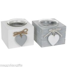 White Grey Wooden Cube Tea Light - Votive Candle Holder - Heart - Shabby Chic