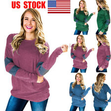 US Women Patchwork Casual Top Long Sleeve Blouse Shirt Pullover Autumn Basic Tee