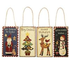 Magideal Merry Christmas Rectangle Wooden Plaque Board Wall Hanging Sign Decor