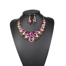 Fashion Rhinestone Crystal Statement Bib Pendant Choker Necklace Earrings Set