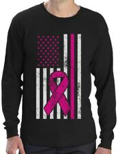 Breast Cancer Awareness USA Flag Pink Ribbon Support Long Sleeve T-Shirt Fight