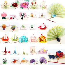 Christmas 3D Pop Up Card Invitation Greeting Cards Happy Birthday Gift PostCards