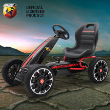 Kids Licensed Abarth Pedal Go Kart Children's Ride on Push Car with Hand Brake