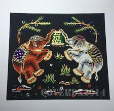 VTG Elephant-2 Oriental Painting on Silk Made in Thailand