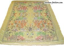 """Chinese Brocade Faux Silk Table Cloth/Wall Hanging/Tapestry Large Fabric 75""""x55"""""""