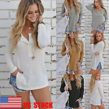 US Women Button Top Knitted Pullover Tee Shirt Loose Split Sweater Casual Jumper