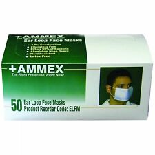 AMMEX 3Ply Conforming Metal Bridge Earloop Style Face (Box of 50 Masks)